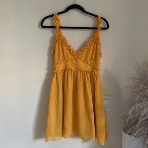 Lovers & Friends mustard yellow mini dress